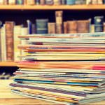Magazine stack pile press print cover background