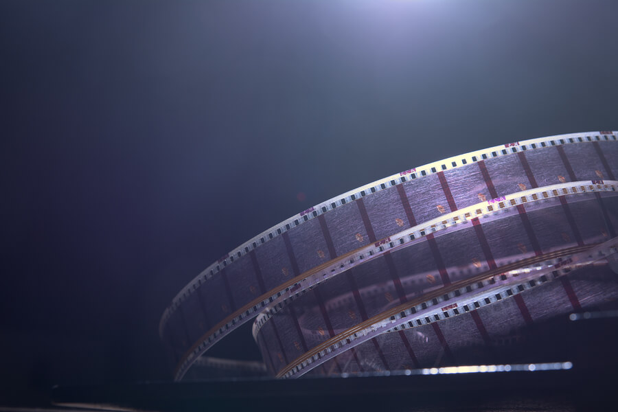 Concept image of old film winding into the abyss.